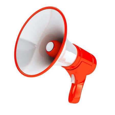 Red megaphone over white background Stock Photo