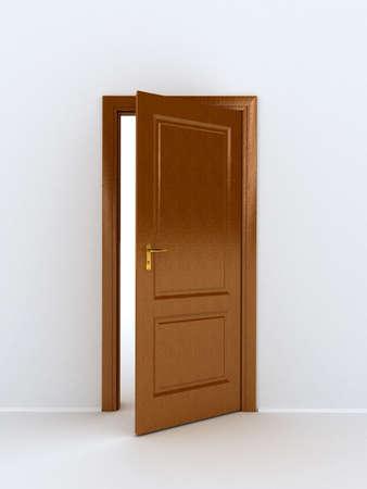 key to freedom: puerta de madera sobre fondo blanco Foto de archivo