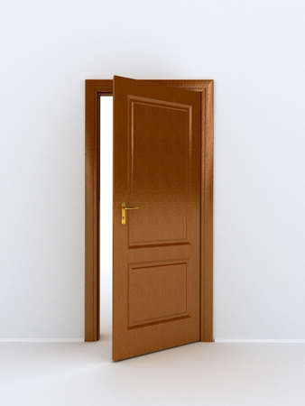 wooden door over white background photo