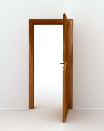 abriendo puerta: madera de puertas abiertas sobre fondo blanco Foto de archivo