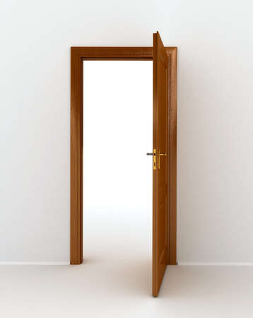 new opportunity: wooden open door over white background Stock Photo