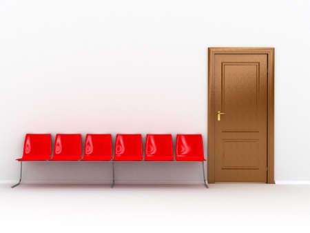 doorstep: wooden door over white background Stock Photo