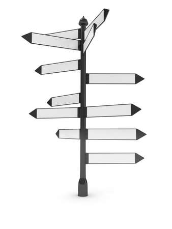 guidepost: Directions signs over white background Stock Photo