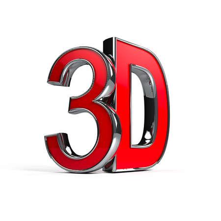 3d: Mot 3D sur fond blanc