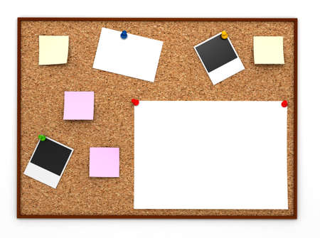 Corkboard with paper sticker
