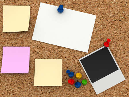 corcho: Corkboard con la pegatina de papel Foto de archivo
