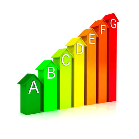 Energy efficiecy scale over white background photo
