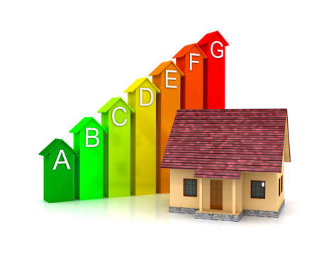 Energy efficiecy scale over white background Standard-Bild