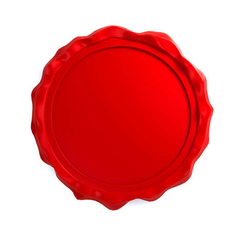 Red wax seal over white background photo