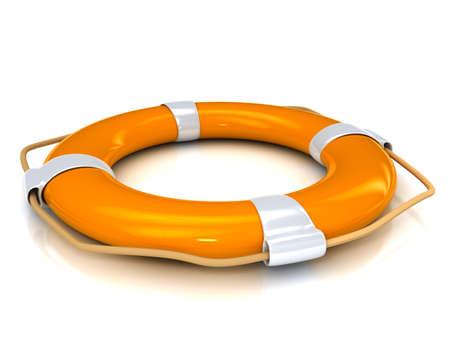 白い背景の上のオレンジ色の救命浮輪