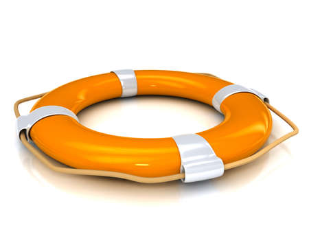 Orange lifebuoy over white background Standard-Bild