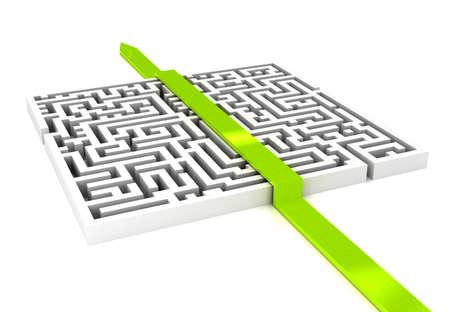 doolhof: Labirinth met pijl op witte achtergrond Stockfoto