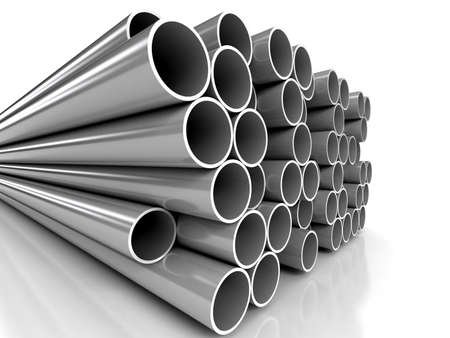 metal pipe: Metal tubes over white background Stock Photo