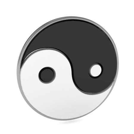 Yin Yang-Symbol über weißem Hintergrund