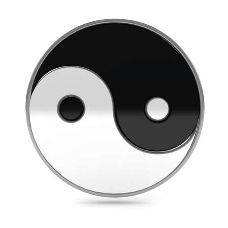 oneness: Yin Yang symbol over white background Stock Photo