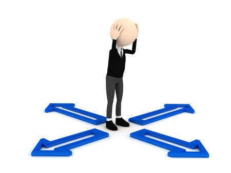 3d person decide problem. computer generated image Stock Photo - 9841117