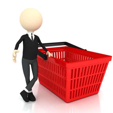ショッピング バスケットと 3 d の人。3 d レンダリングされたイメージ 写真素材