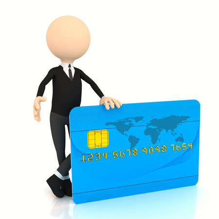 3d businessman with credit card over white. computer generated Stock Photo - 9841126