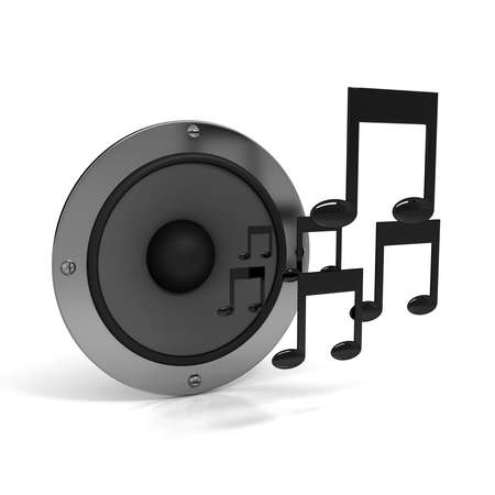 logo music: 3d notes with speaker over white background Stock Photo