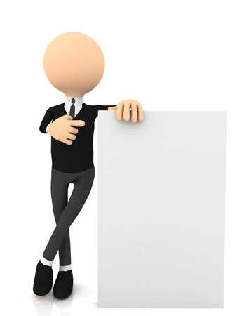 ホワイト上の 3 d 実業家 wiyh ポスター。コンピューターで生成されました。