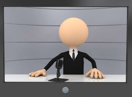 3d businessman in TV. computer generated image photo
