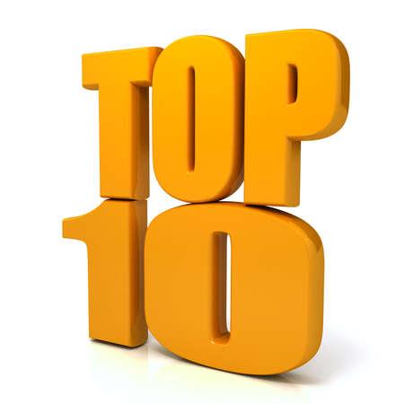 白い背景の上のトップ 10 の言葉。com 写真素材