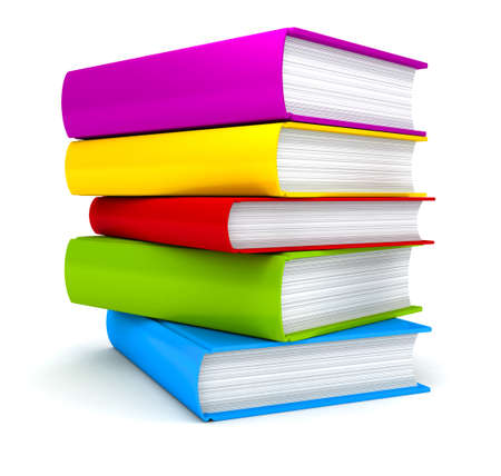 three objects: Stack of Books on white background . 3d render