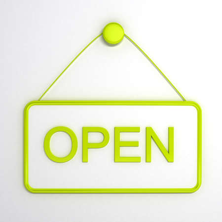 Open sign over white background. Computer generated image Standard-Bild