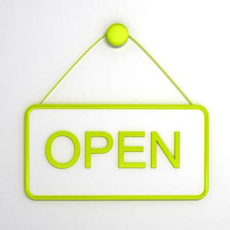 abriendo puerta: Se�al abierta sobre fondo blanco. Imagen generada por ordenador