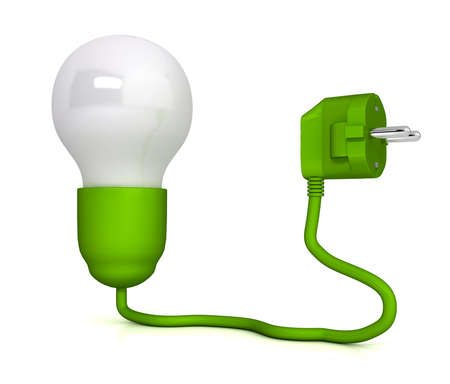 electric green: Electric plug over white background. computer generated image