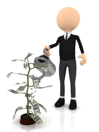 Money plant over white background. computer generated image photo