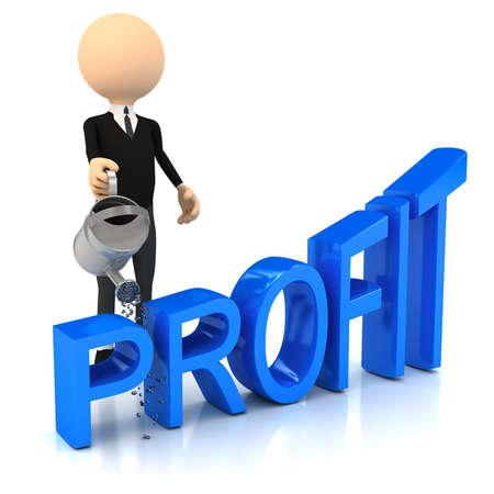 3d person raise profit. computer generated image