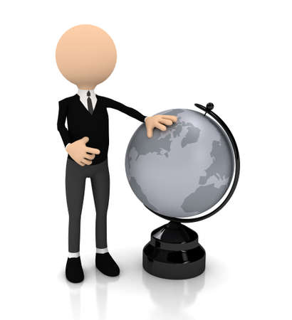 3d person with globe over white photo