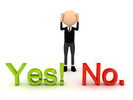 yes or no: 3d person over white background. computer generated image