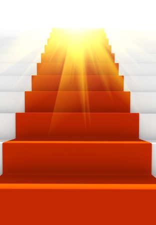presti: Glow schody z czerwonego dywanu. wygenerowane komputerowo obrazu Zdjęcie Seryjne