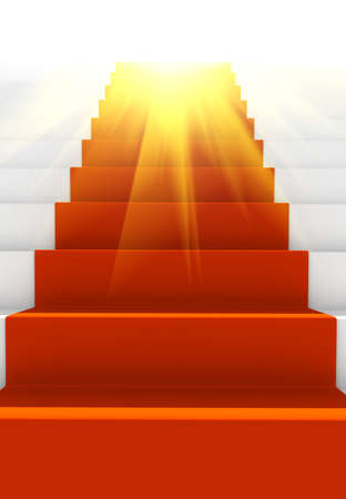 Glow stair with red carpet. computer generated image