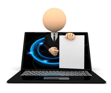 human representation: Businessmen with blank document in notebook. 3d image
