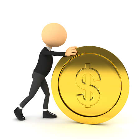investment metaphor money: 3d person push gold coin. computer generated image Stock Photo
