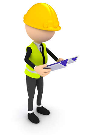 Engineer with blueprint over white background. computer generated image