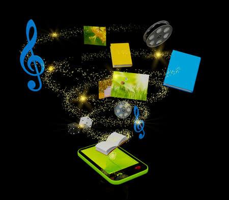 黒の上のモバイル メディアの概念。コンピューター生成画像