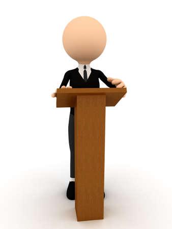 3D-persoon op de tribune over wit. computer gegenereerde afbeelding Stockfoto