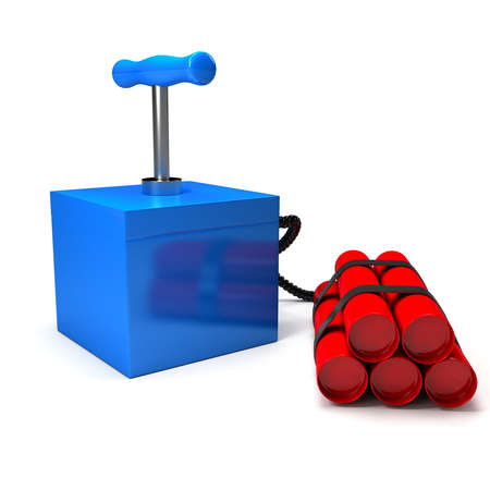 detonator: Explozive with detonator over white. 3d rendered image