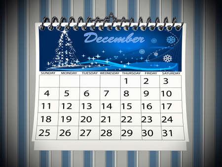 calendario diciembre: Navidad diciembre del calendario en la pared. Imagen 3D prestados