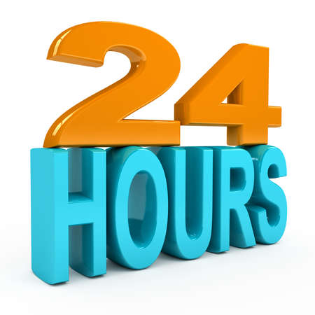 24 hour: 24 hours concept over white background. 3d rendered image