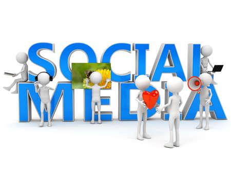 Social media concept over white. computer generated image Standard-Bild