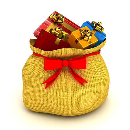 Christmas bag with gifts over white. computer generated image Stock Photo - 11536356