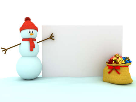 3d snowman over white background. computer generated image photo