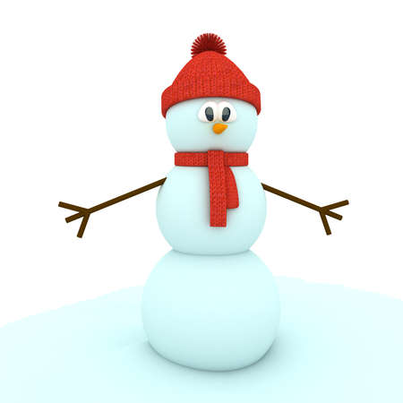 scarves: 3d snowman over white background. computer generated image