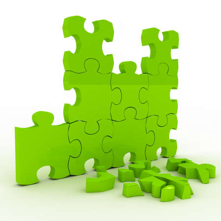 Green brocken puzzle over white background. 3d rendered image photo
