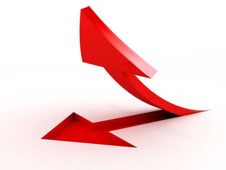 白い背景の上の 3 D 赤い矢印。コンピューター生成画像